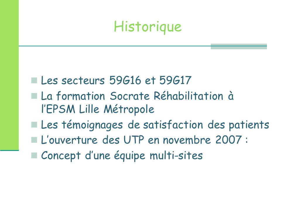 Historique Les secteurs 59G16 et 59G17 La formation Socrate Réhabilitation à l'EPSM Lille Métropole Les témoignages de satisfaction des patients L'ouv
