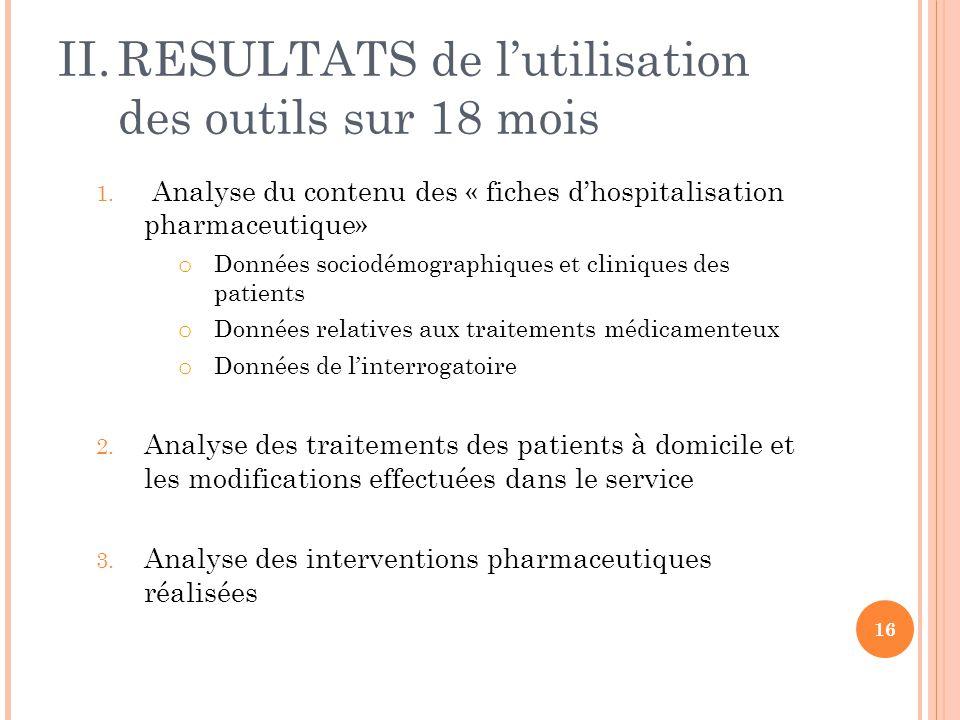 II.RESULTATS de l'utilisation des outils sur 18 mois 1. Analyse du contenu des « fiches d'hospitalisation pharmaceutique» o Données sociodémographique