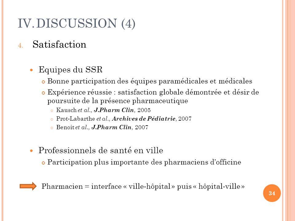 IV.DISCUSSION (4) 4. Satisfaction Equipes du SSR Bonne participation des équipes paramédicales et médicales Expérience réussie : satisfaction globale