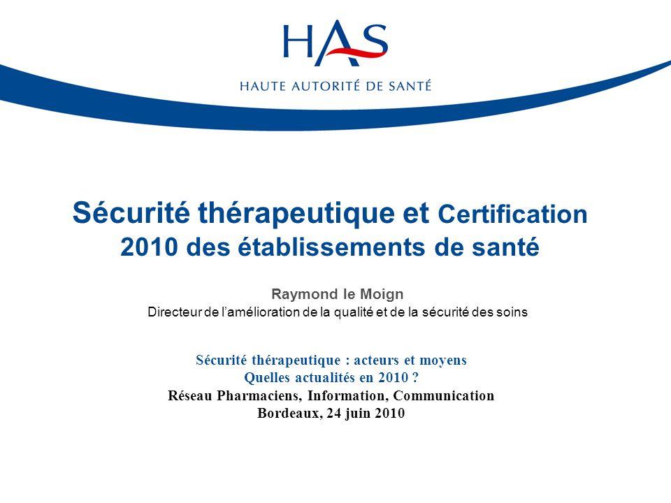 12 Critères génériques Politique d'amélioration de la qualité et de la sécurité des soins (1e) Logistique pharmaceutique (achats, approvisionnements, 6f) Evaluation des risques a priori (8d) Pharmacovigilance (vigilances, 8i) Permanence pharmaceutique (continuité, coordination prise en charge, 18a) Dotation pour besoins urgents (gestion des urgences vitales internes, 18b) EPP (28) : RCP, REMED, pertinence des prescriptions Perspectives : Certification V2010 Une référence sur la prise en charge médicamenteuse et des critères génériques (2/2)