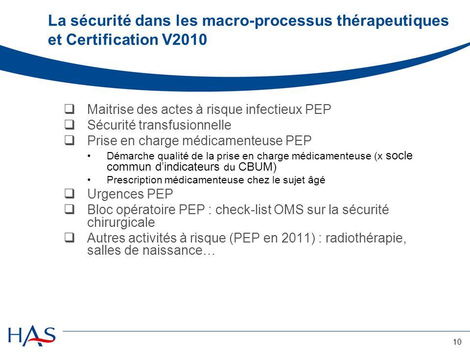 10 La sécurité dans les macro-processus thérapeutiques et Certification V2010  Maitrise des actes à risque infectieux PEP  Sécurité transfusionnelle