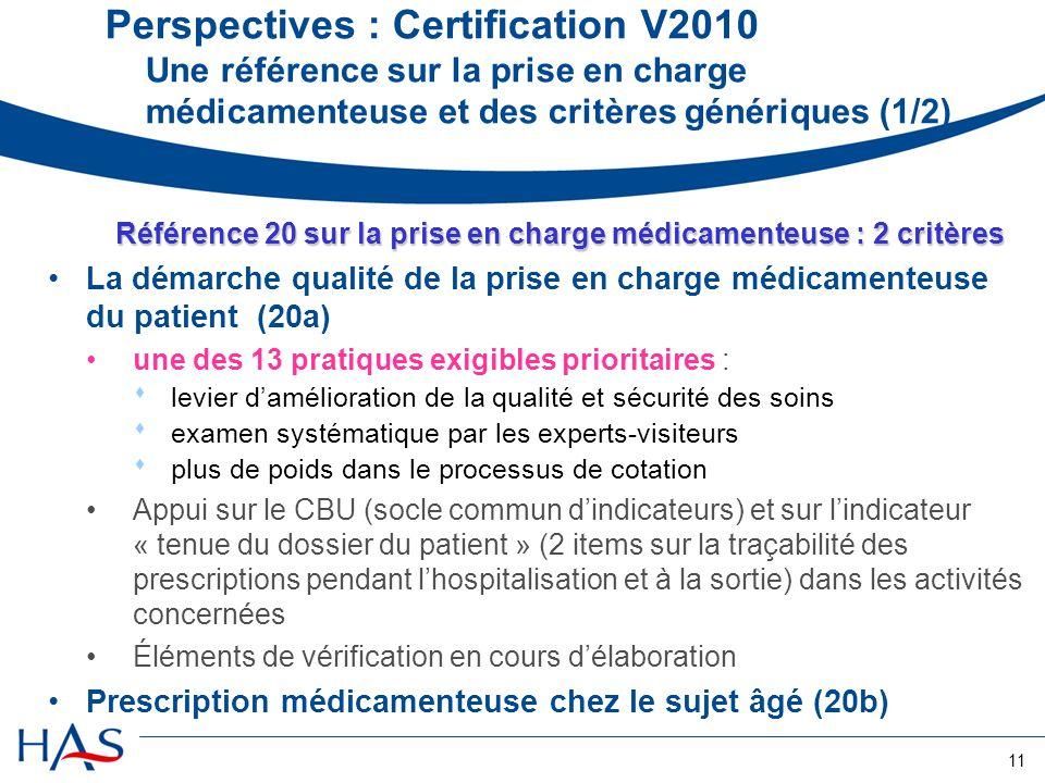 11 Référence 20 sur la prise en charge médicamenteuse : 2 critères La démarche qualité de la prise en charge médicamenteuse du patient (20a) une des 1
