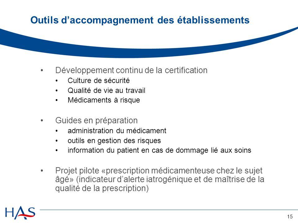 15 Outils d'accompagnement des établissements Développement continu de la certification Culture de sécurité Qualité de vie au travail Médicaments à ri