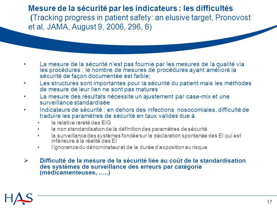 17 Mesure de la sécurité par les indicateurs : les difficultés (Tracking progress in patient safety: an elusive target, Pronovost et al, JAMA, August