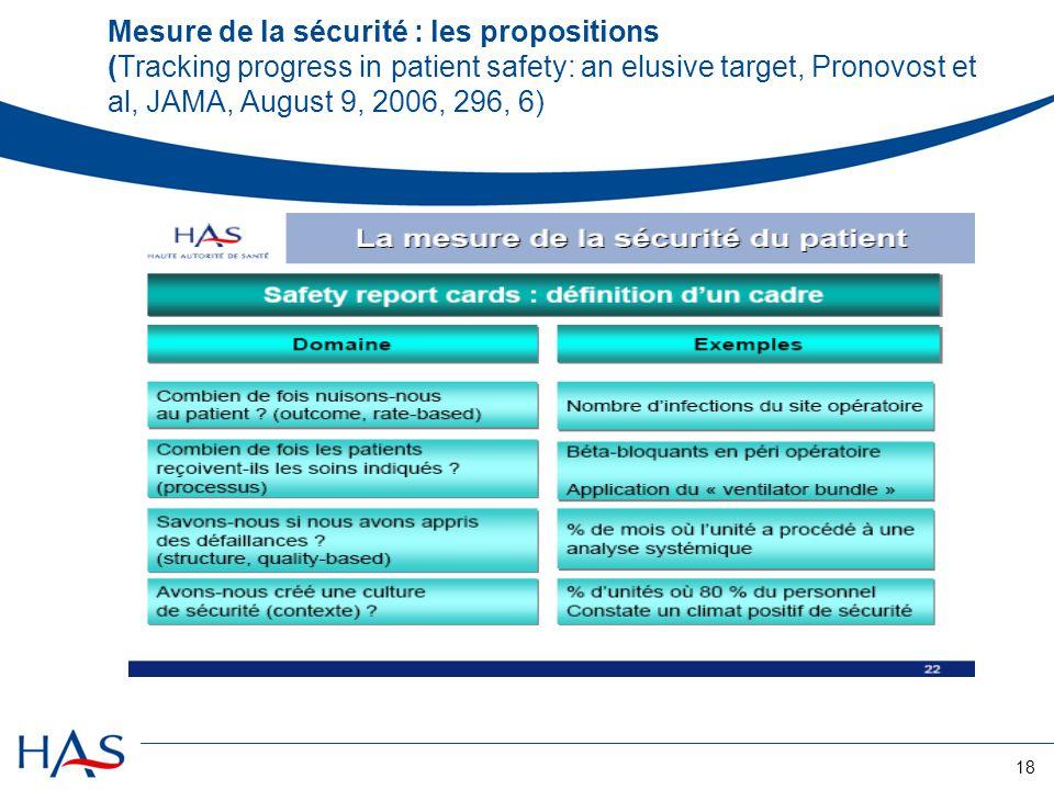 18 Mesure de la sécurité : les propositions (Tracking progress in patient safety: an elusive target, Pronovost et al, JAMA, August 9, 2006, 296, 6)