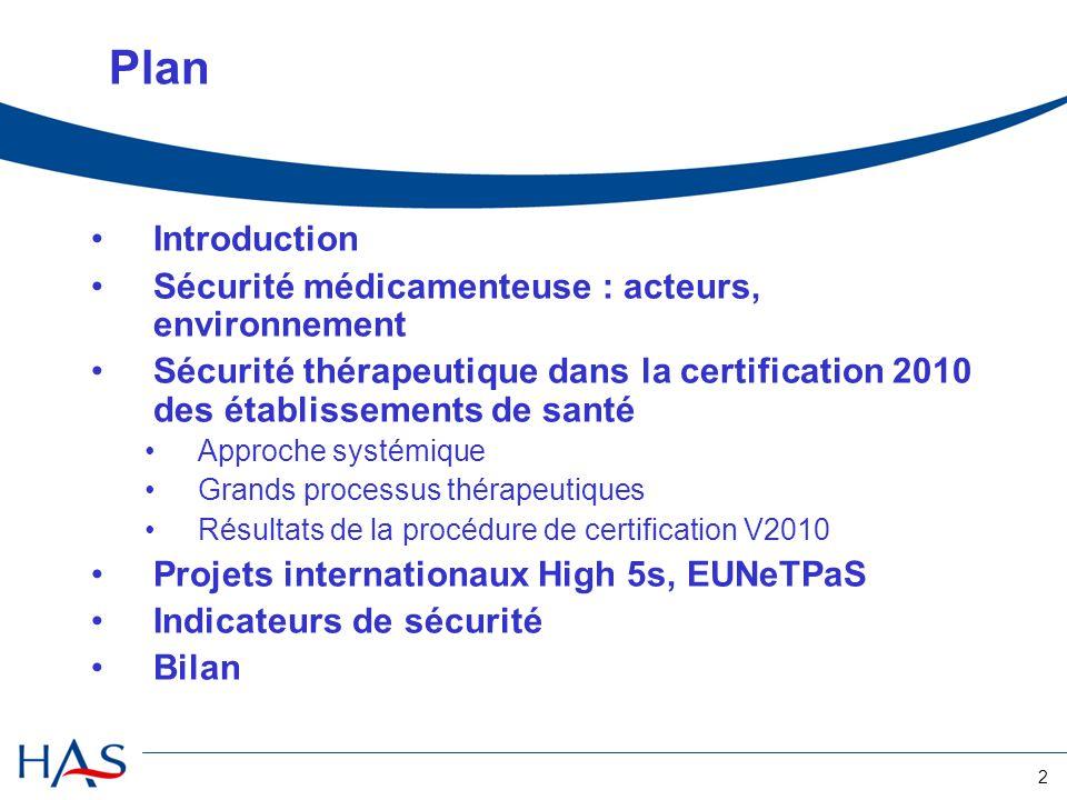 2 Plan Introduction Sécurité médicamenteuse : acteurs, environnement Sécurité thérapeutique dans la certification 2010 des établissements de santé App