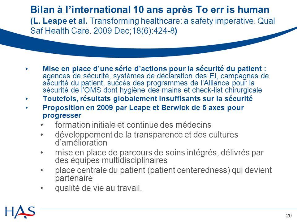 20 Bilan à l'international 10 ans après To err is human (L. Leape et al. Transforming healthcare: a safety imperative. Qual Saf Health Care. 2009 Dec;
