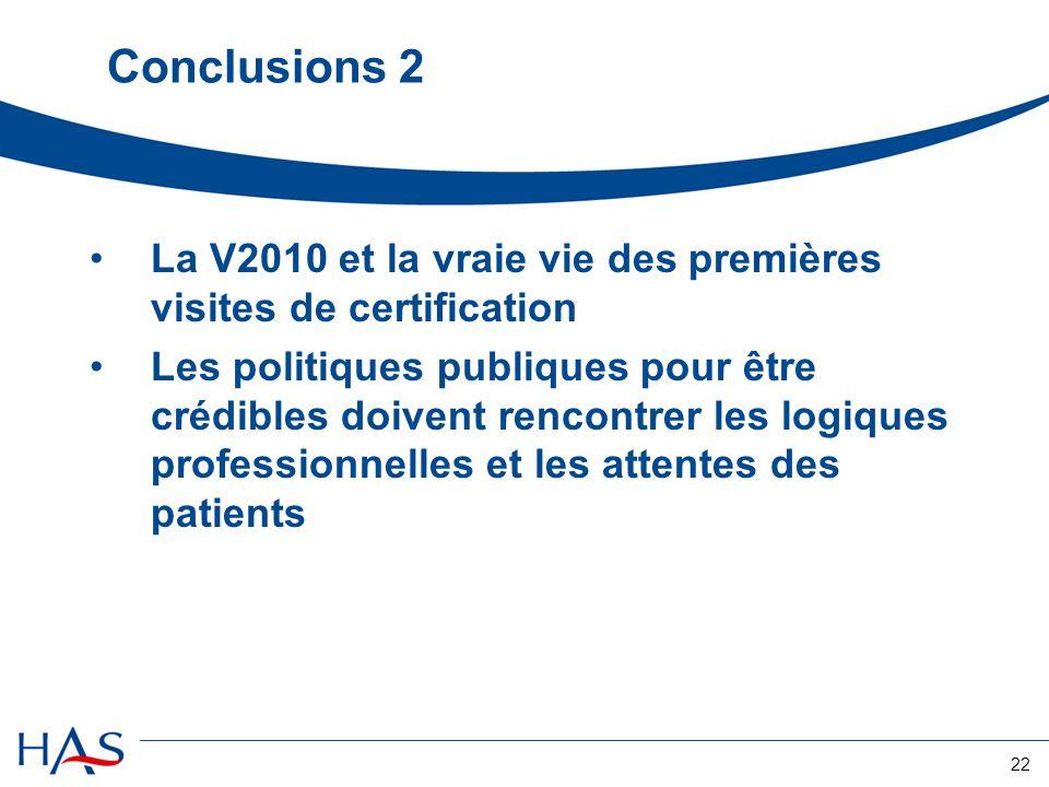 22 Conclusions 2 La V2010 et la vraie vie des premières visites de certification Les politiques publiques pour être crédibles doivent rencontrer les logiques professionnelles et les attentes des patients