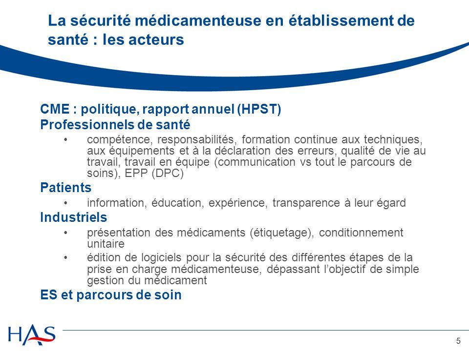 5 La sécurité médicamenteuse en établissement de santé : les acteurs CME : politique, rapport annuel (HPST) Professionnels de santé compétence, respon