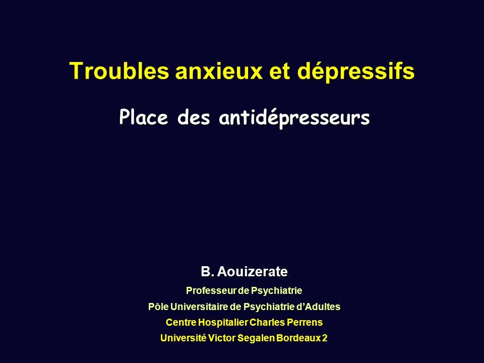 B. Aouizerate Professeur de Psychiatrie Pôle Universitaire de Psychiatrie d'Adultes Centre Hospitalier Charles Perrens Université Victor Segalen Borde