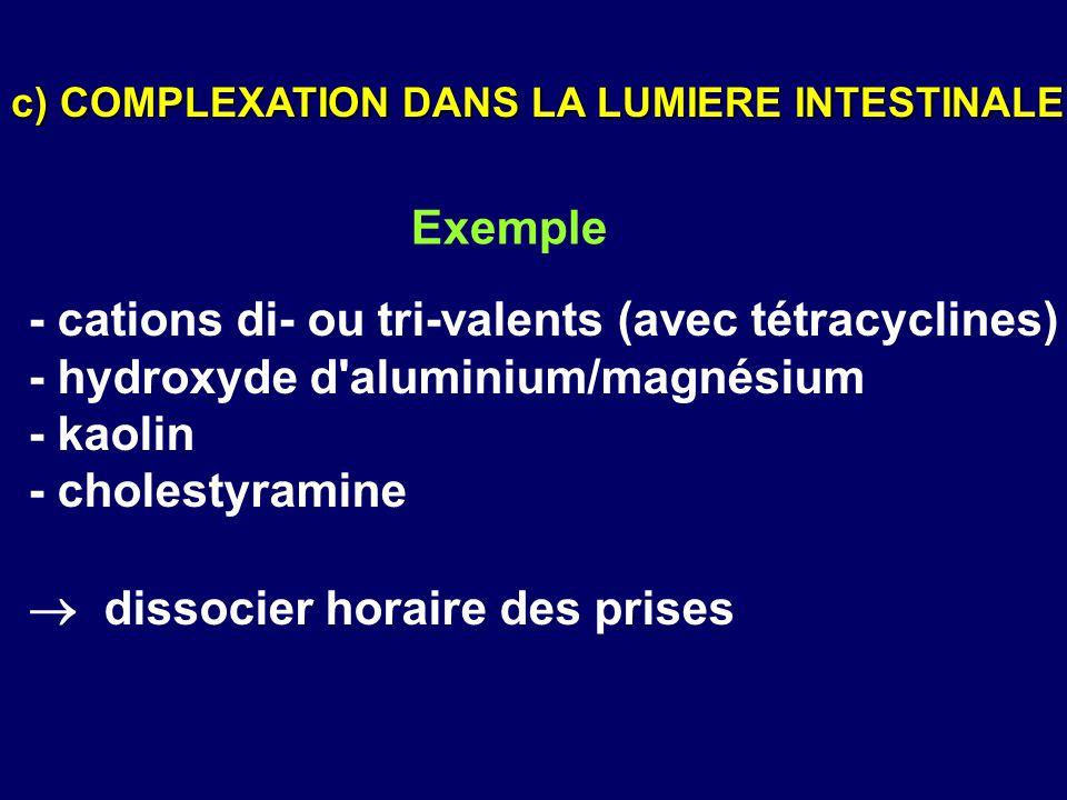- cations di- ou tri-valents (avec tétracyclines) - hydroxyde d'aluminium/magnésium - kaolin - cholestyramine  dissocier horaire des prises c) COMPLE