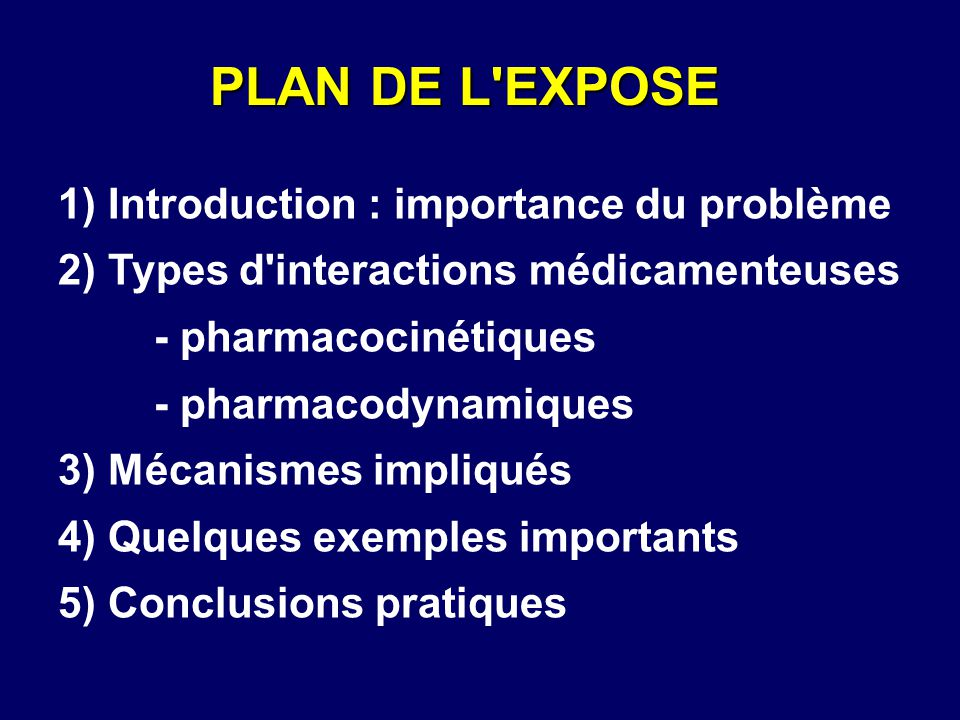 1) Introduction : importance du problème 2) Types d'interactions médicamenteuses - pharmacocinétiques - pharmacodynamiques 3) Mécanismes impliqués 4)