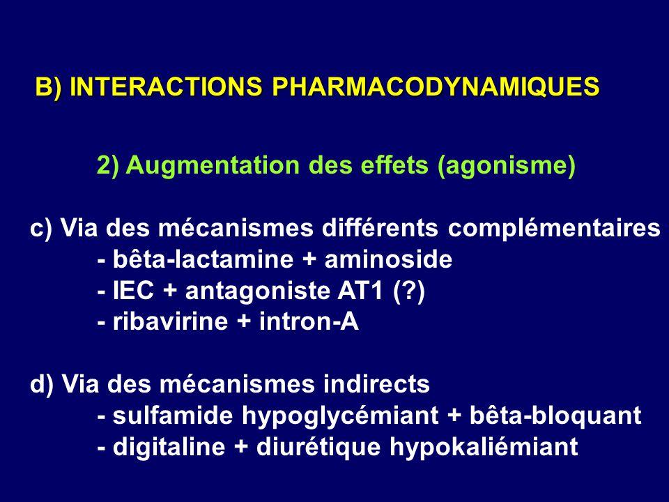 2) Augmentation des effets (agonisme) c) Via des mécanismes différents complémentaires - bêta-lactamine + aminoside - IEC + antagoniste AT1 (?) - riba