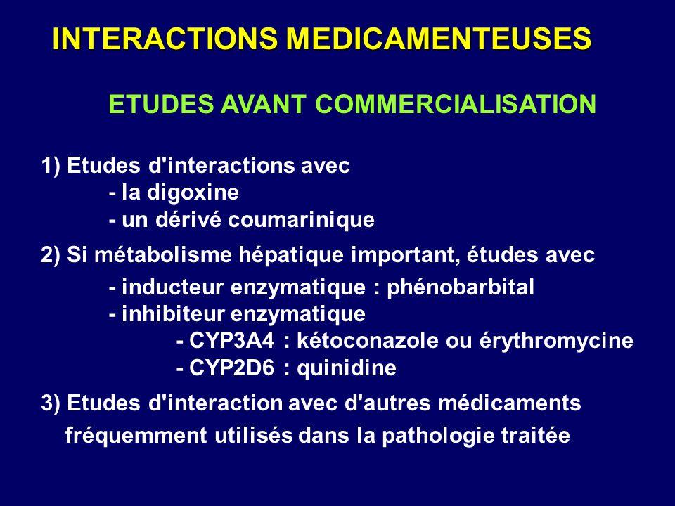 ETUDES AVANT COMMERCIALISATION 1) Etudes d'interactions avec - la digoxine - un dérivé coumarinique 2) Si métabolisme hépatique important, études avec