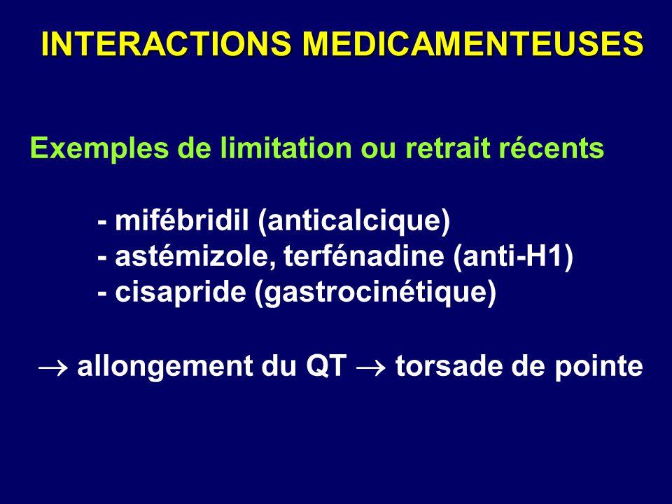 Exemples de limitation ou retrait récents - mifébridil (anticalcique) - astémizole, terfénadine (anti-H1) - cisapride (gastrocinétique)  allongement