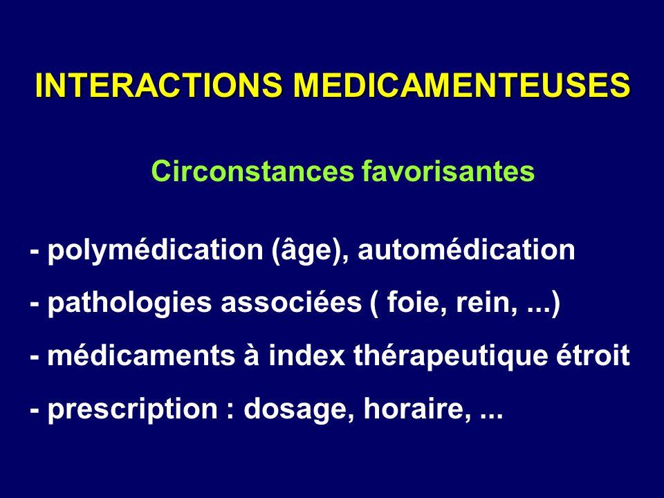 - polymédication (âge), automédication - pathologies associées ( foie, rein,...) - médicaments à index thérapeutique étroit - prescription : dosage, h