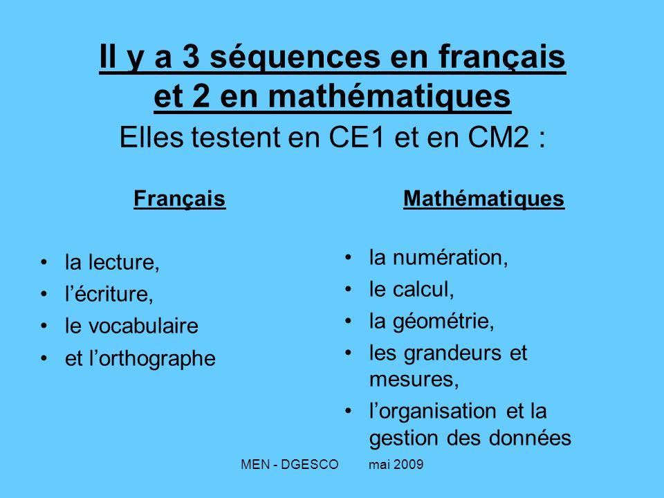 MEN - DGESCO mai 2009 Il y a 3 séquences en français et 2 en mathématiques Elles testent en CE1 et en CM2 : Français la lecture, l'écriture, le vocabu
