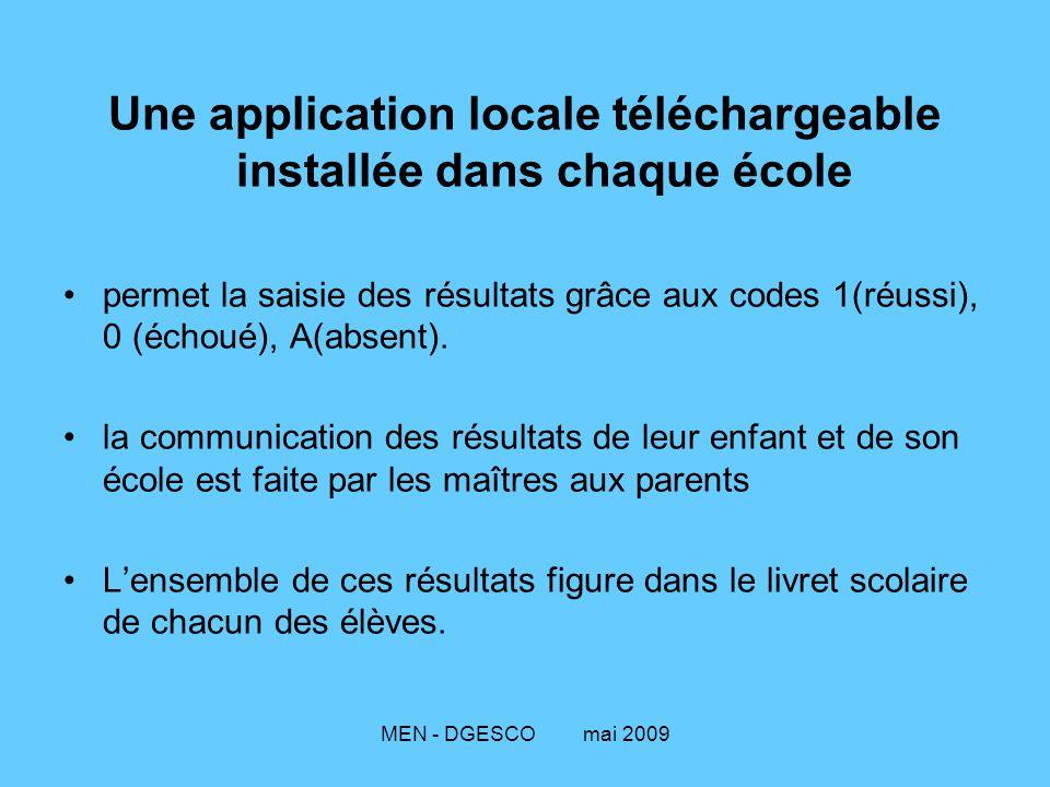 MEN - DGESCO mai 2009 Une application locale téléchargeable installée dans chaque école permet la saisie des résultats grâce aux codes 1(réussi), 0 (échoué), A(absent).