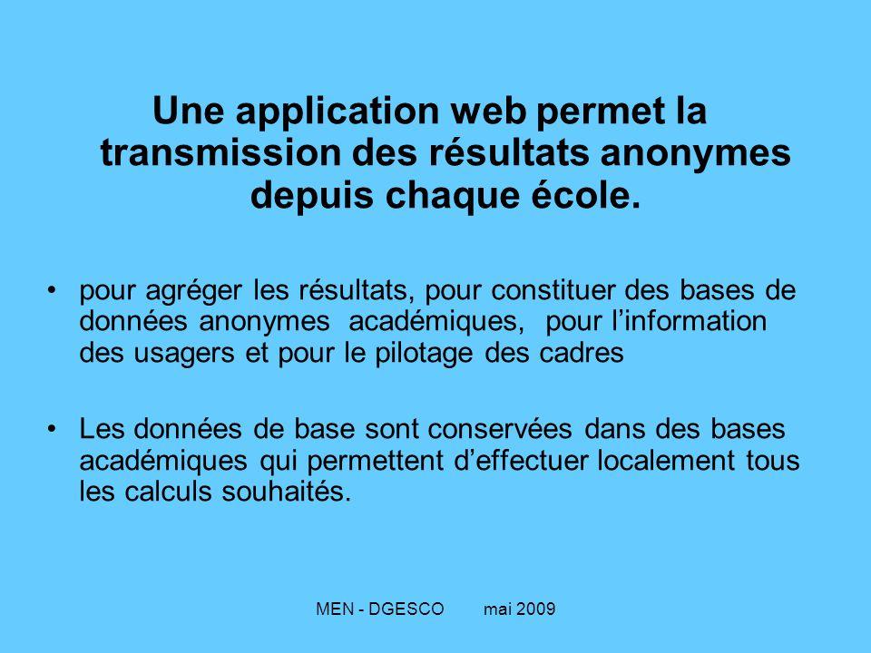 MEN - DGESCO mai 2009 Une application web permet la transmission des résultats anonymes depuis chaque école. pour agréger les résultats, pour constitu