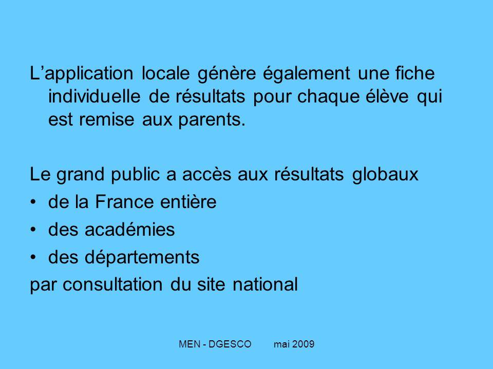 MEN - DGESCO mai 2009 L'application locale génère également une fiche individuelle de résultats pour chaque élève qui est remise aux parents. Le grand