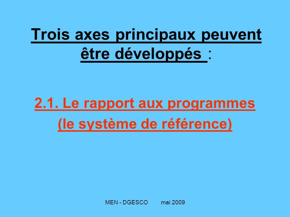 MEN - DGESCO mai 2009 Trois axes principaux peuvent être développés : 2.1. Le rapport aux programmes (le système de référence)