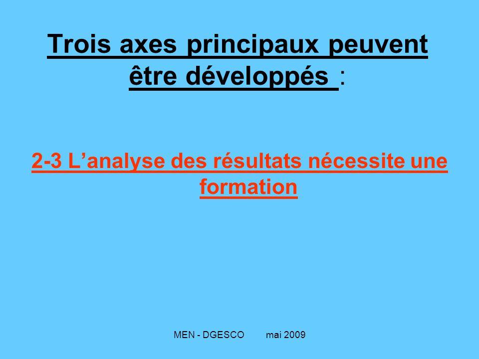 MEN - DGESCO mai 2009 Trois axes principaux peuvent être développés : 2-3 L'analyse des résultats nécessite une formation