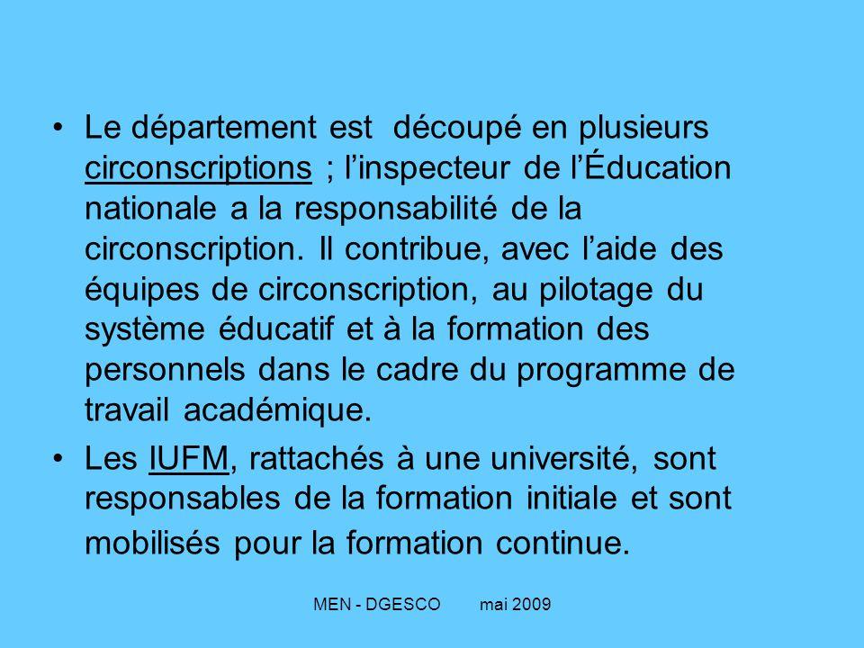 MEN - DGESCO mai 2009 Le département est découpé en plusieurs circonscriptions ; l'inspecteur de l'Éducation nationale a la responsabilité de la circo