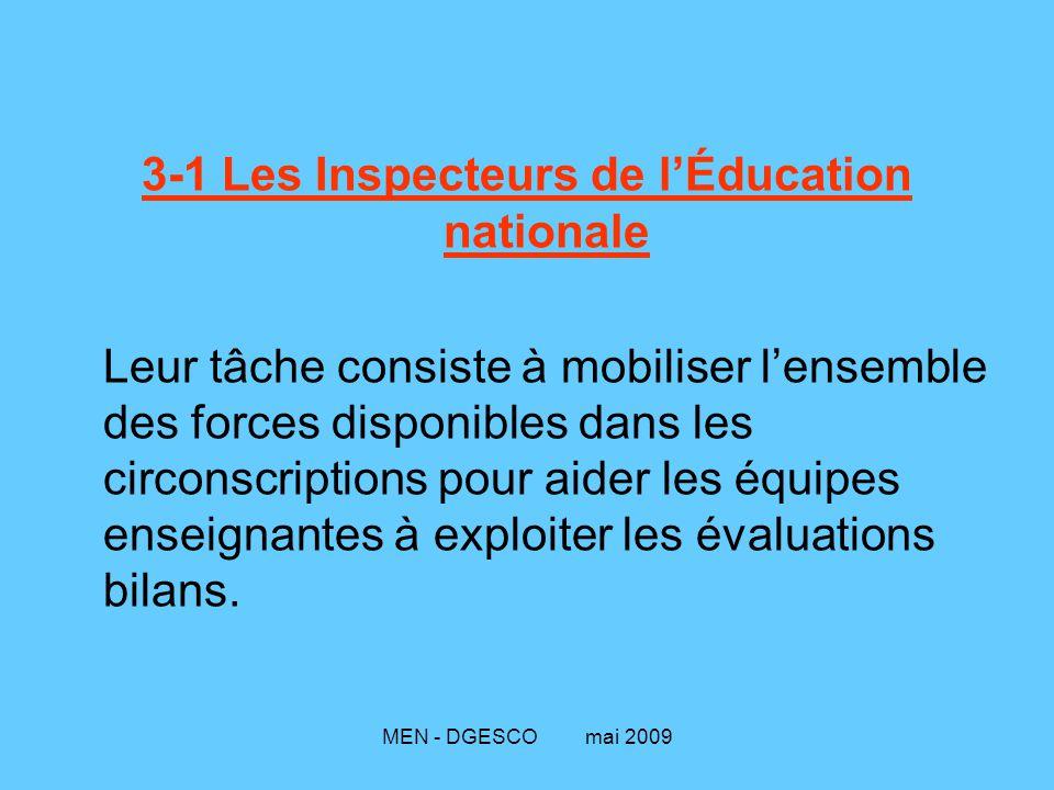 MEN - DGESCO mai 2009 3-1 Les Inspecteurs de l'Éducation nationale Leur tâche consiste à mobiliser l'ensemble des forces disponibles dans les circonscriptions pour aider les équipes enseignantes à exploiter les évaluations bilans.