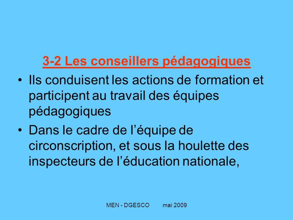 MEN - DGESCO mai 2009 3-2 Les conseillers pédagogiques Ils conduisent les actions de formation et participent au travail des équipes pédagogiques Dans