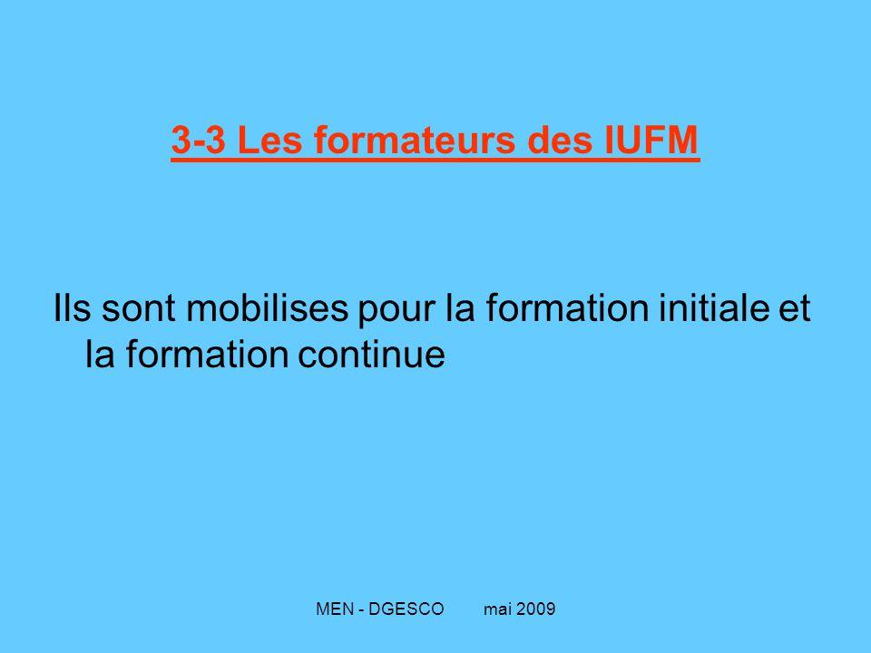 MEN - DGESCO mai 2009 3-3 Les formateurs des IUFM Ils sont mobilises pour la formation initiale et la formation continue