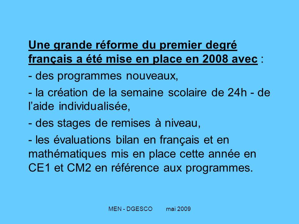 MEN - DGESCO mai 2009 Une grande réforme du premier degré français a été mise en place en 2008 avec : - des programmes nouveaux, - la création de la semaine scolaire de 24h - de l'aide individualisée, - des stages de remises à niveau, - les évaluations bilan en français et en mathématiques mis en place cette année en CE1 et CM2 en référence aux programmes.