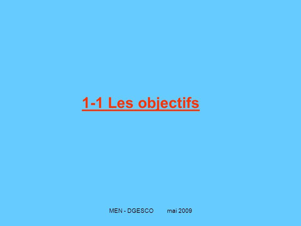 MEN - DGESCO mai 2009 1-1 Les objectifs