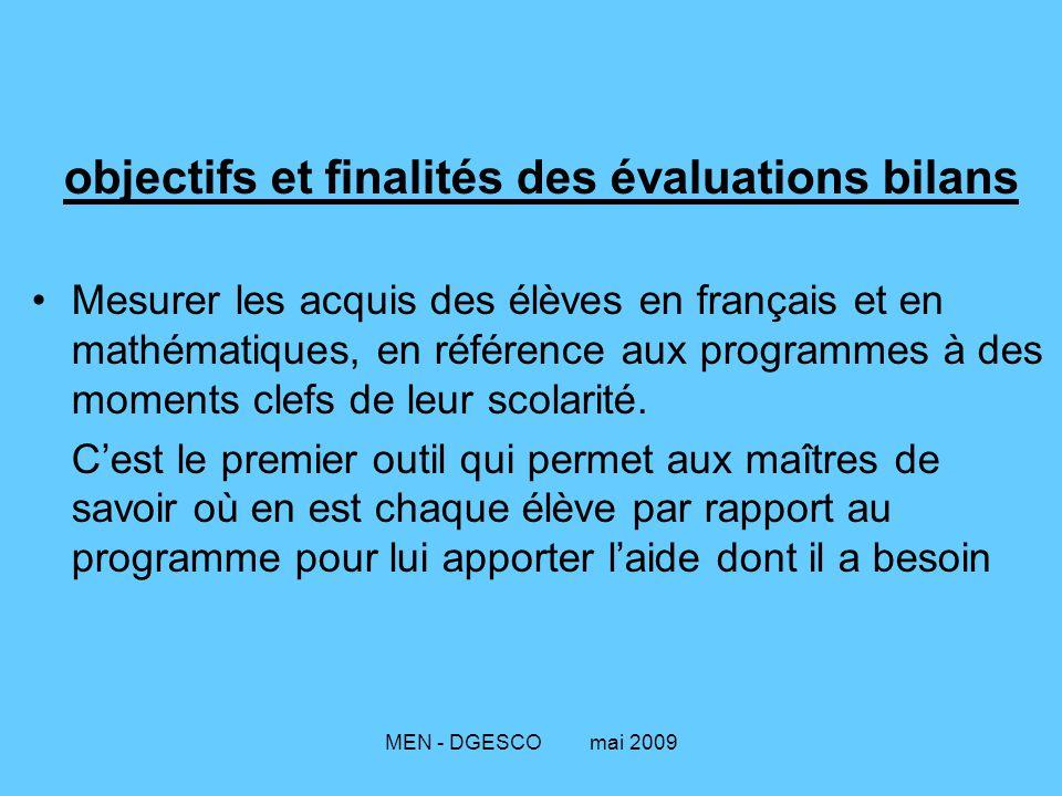MEN - DGESCO mai 2009 objectifs et finalités des évaluations bilans Mesurer les acquis des élèves en français et en mathématiques, en référence aux programmes à des moments clefs de leur scolarité.