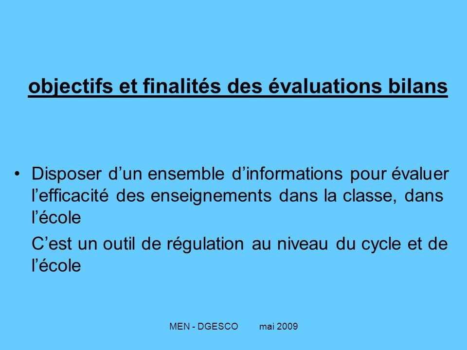 MEN - DGESCO mai 2009 objectifs et finalités des évaluations bilans Disposer d'un ensemble d'informations pour évaluer l'efficacité des enseignements dans la classe, dans l'école C'est un outil de régulation au niveau du cycle et de l'école