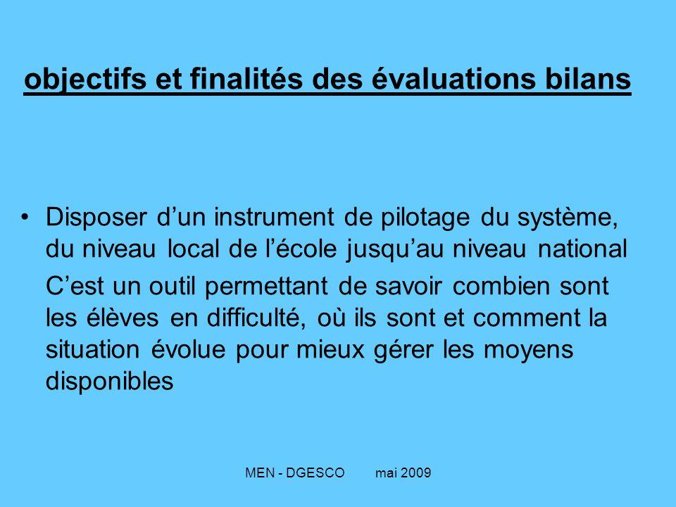 MEN - DGESCO mai 2009 objectifs et finalités des évaluations bilans Disposer d'un instrument de pilotage du système, du niveau local de l'école jusqu'