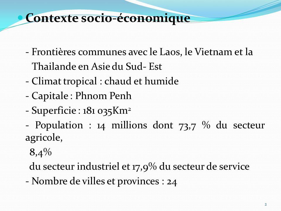 2 Contexte socio-économique - Frontières communes avec le Laos, le Vietnam et la Thailande en Asie du Sud- Est - Climat tropical : chaud et humide - Capitale : Phnom Penh - Superficie : 181 035Km 2 - Population : 14 millions dont 73,7 % du secteur agricole, 8,4% du secteur industriel et 17,9% du secteur de service - Nombre de villes et provinces : 24