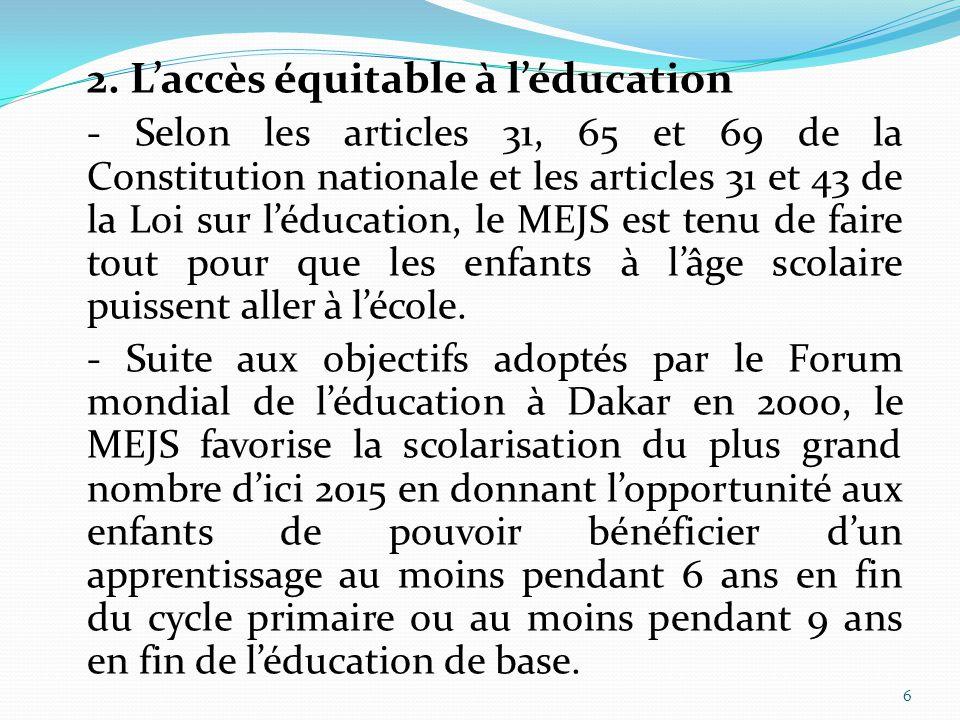 6 2. L'accès équitable à l'éducation - Selon les articles 31, 65 et 69 de la Constitution nationale et les articles 31 et 43 de la Loi sur l'éducation