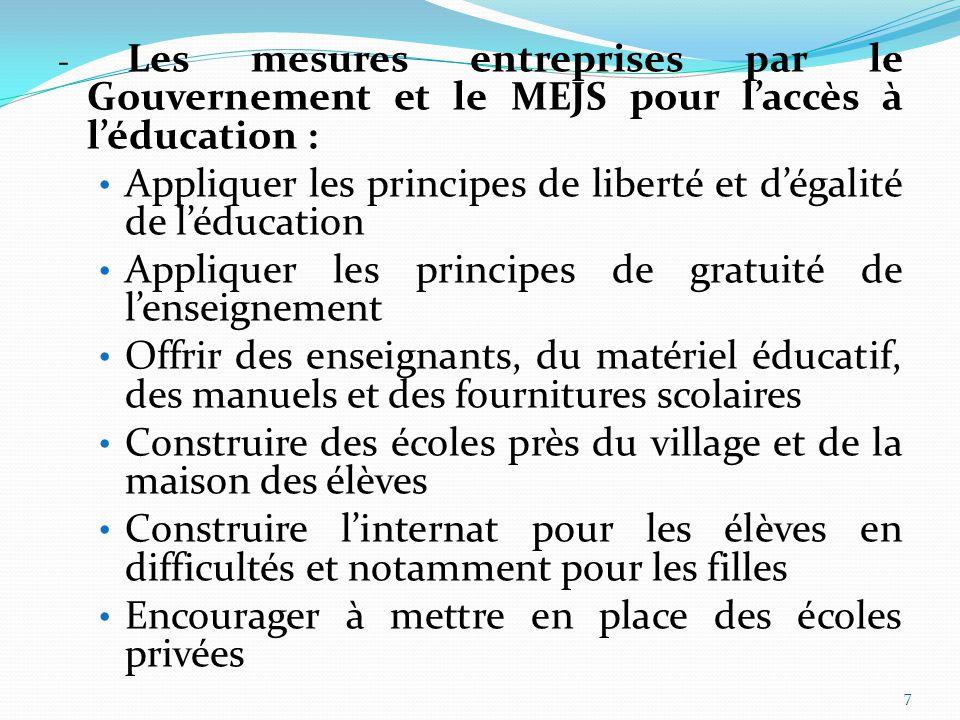 7 - Les mesures entreprises par le Gouvernement et le MEJS pour l'accès à l'éducation : Appliquer les principes de liberté et d'égalité de l'éducation Appliquer les principes de gratuité de l'enseignement Offrir des enseignants, du matériel éducatif, des manuels et des fournitures scolaires Construire des écoles près du village et de la maison des élèves Construire l'internat pour les élèves en difficultés et notamment pour les filles Encourager à mettre en place des écoles privées