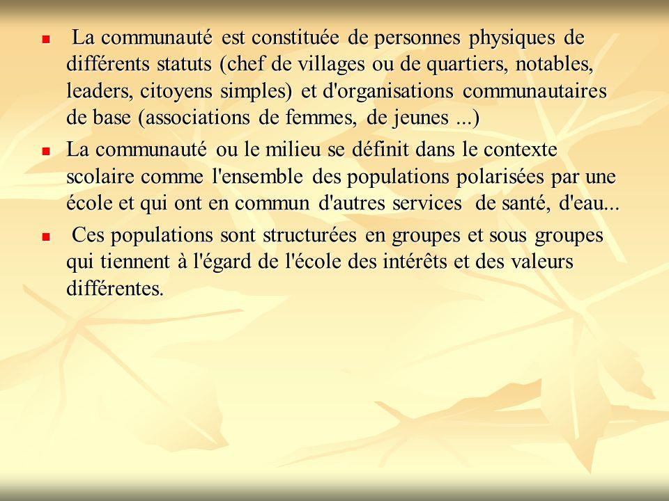 La communauté est constituée de personnes physiques de différents statuts (chef de villages ou de quartiers, notables, leaders, citoyens simples) et d