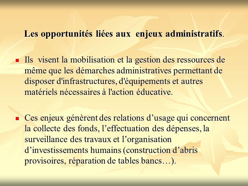 Les opportunités liées aux enjeux administratifs. Ils visent la mobilisation et la gestion des ressources de même que les démarches administratives pe