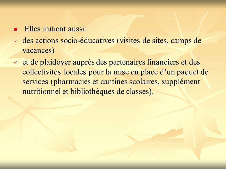 Elles initient aussi: Elles initient aussi: des actions socio-éducatives (visites de sites, camps de vacances) des actions socio-éducatives (visites d