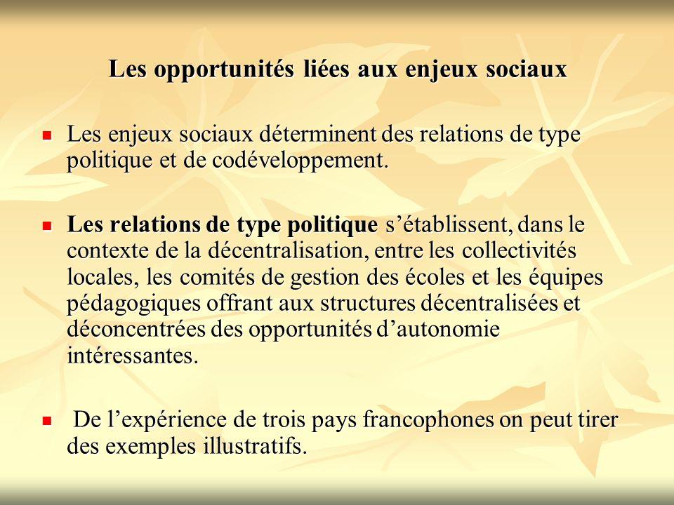 Les opportunités liées aux enjeux sociaux Les enjeux sociaux déterminent des relations de type politique et de codéveloppement. Les enjeux sociaux dét