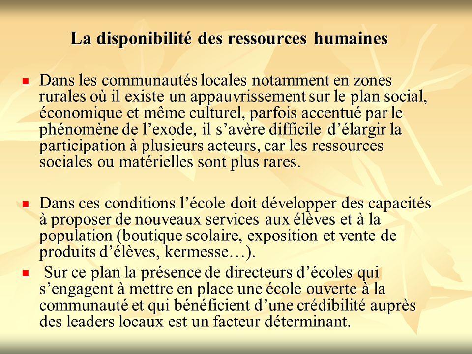 La disponibilité des ressources humaines Dans les communautés locales notamment en zones rurales où il existe un appauvrissement sur le plan social, é