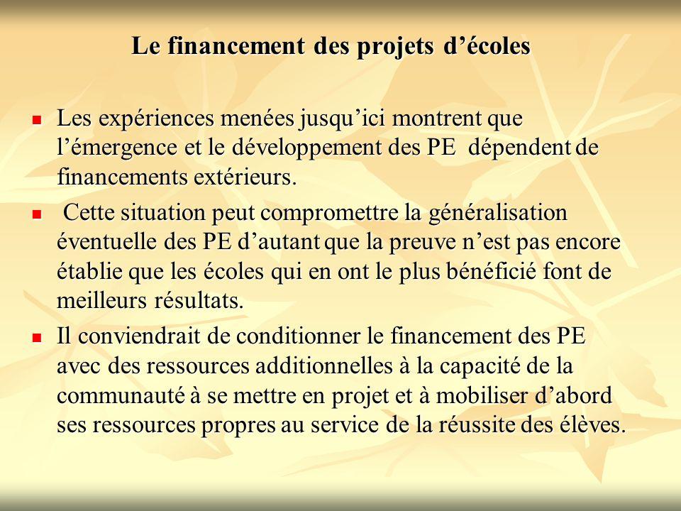 Le financement des projets d'écoles Les expériences menées jusqu'ici montrent que l'émergence et le développement des PE dépendent de financements ext