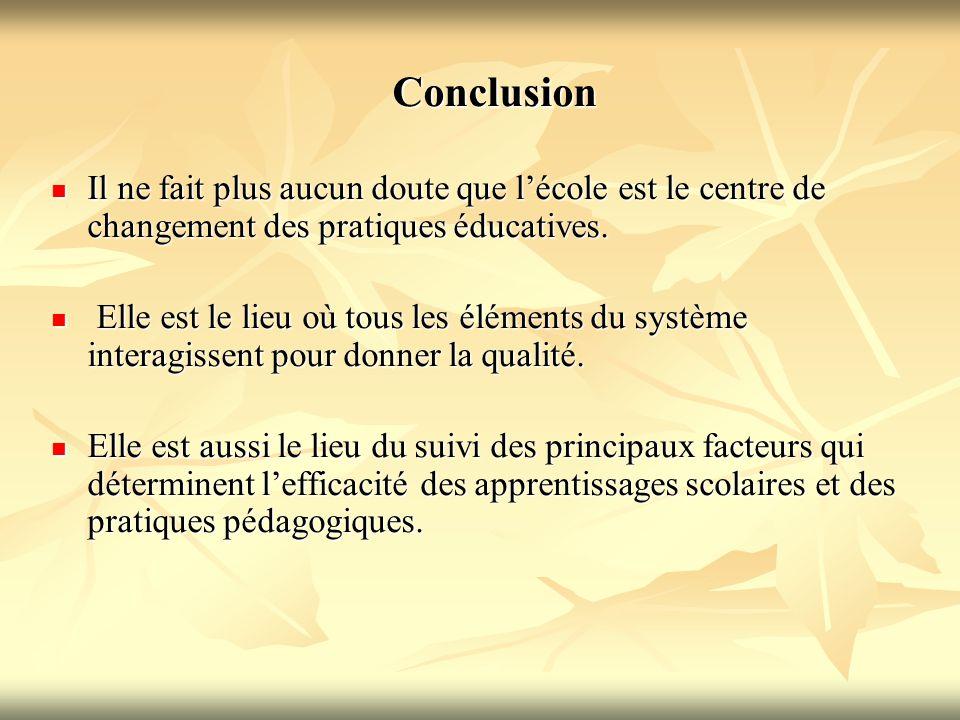 Conclusion Conclusion Il ne fait plus aucun doute que l'école est le centre de changement des pratiques éducatives. Il ne fait plus aucun doute que l'