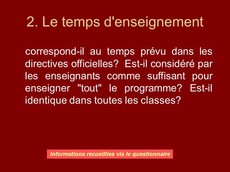 2. Le temps d'enseignement correspond-il au temps prévu dans les directives officielles? Est-il considéré par les enseignants comme suffisant pour ens