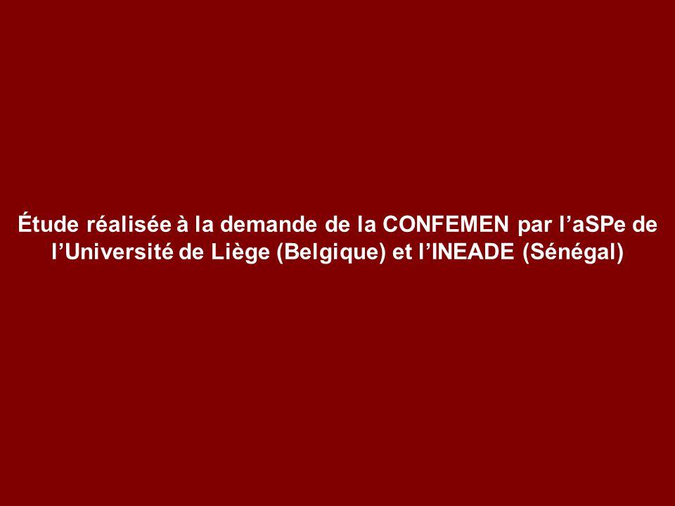 Étude réalisée à la demande de la CONFEMEN par l'aSPe de l'Université de Liège (Belgique) et l'INEADE (Sénégal)