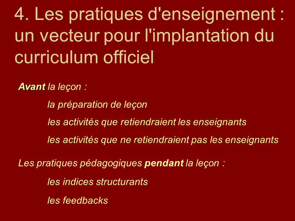 4. Les pratiques d'enseignement : un vecteur pour l'implantation du curriculum officiel Avant Avant la leçon : la préparation de leçon les activités q