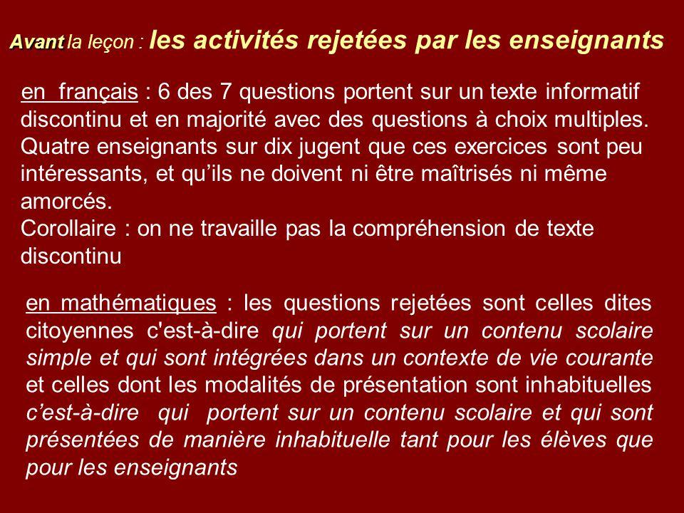 en français : 6 des 7 questions portent sur un texte informatif discontinu et en majorité avec des questions à choix multiples. Quatre enseignants sur