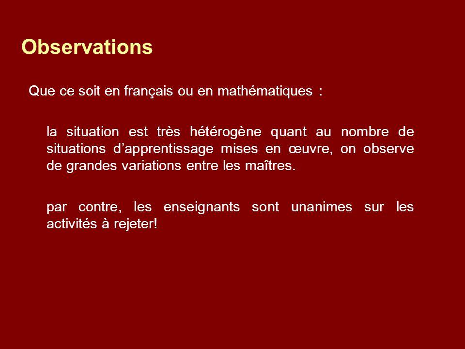 Que ce soit en français ou en mathématiques : la situation est très hétérogène quant au nombre de situations d'apprentissage mises en œuvre, on observe de grandes variations entre les maîtres.